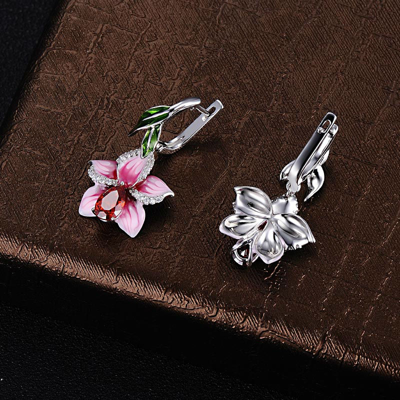 silver pink flower enamel earrings-E303872ENASL925-SV5 -