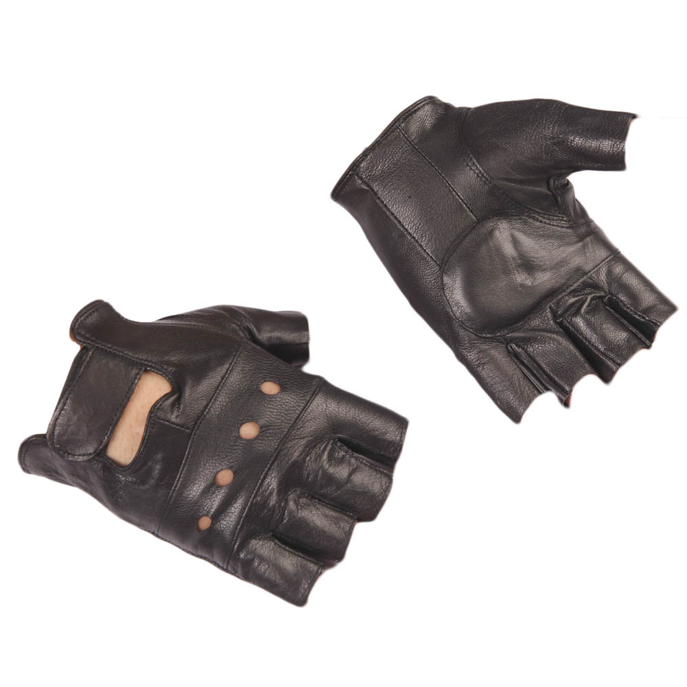 Womens colored leather gloves - Men And Women Pu Leather Gloves Wrist Half Finger Glove Unisex Adult Fingerless Mittens Goat Lambskin