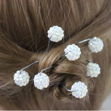 4/pack Shiny glitter Small cute Crystal ball shaped Hair Sticks hair clips hairpin the bride wedding Holiday hair accessories
