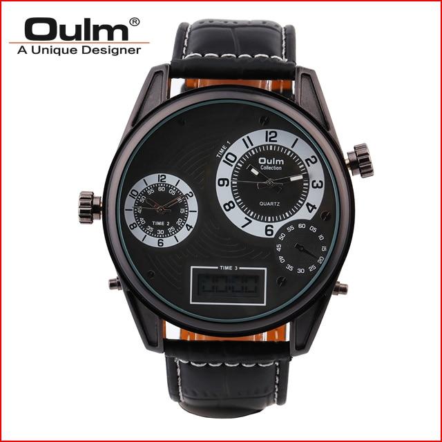Man watch Leather starp Watch font b OULM b font HP3581 Multiple time zone font b