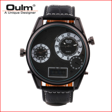Man watch Leather starp Watch OULM HP3581 Multiple time zone luxury wristwatches fashion