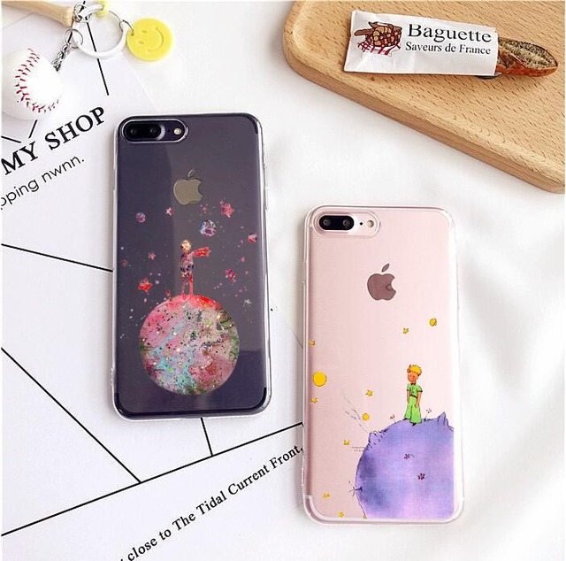 Watercolor art Little Prince Lovely Cartoon Pattern Unique Clear TPU Phone Case For iPhone SE 5s 6 6s plus 7 7plus 8 8Plus X