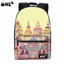 2016 ONE2 Дизайн исламской архитектуры pattern нейлон печати школьная сумка рюкзак корейский стиль для девочек-подростков