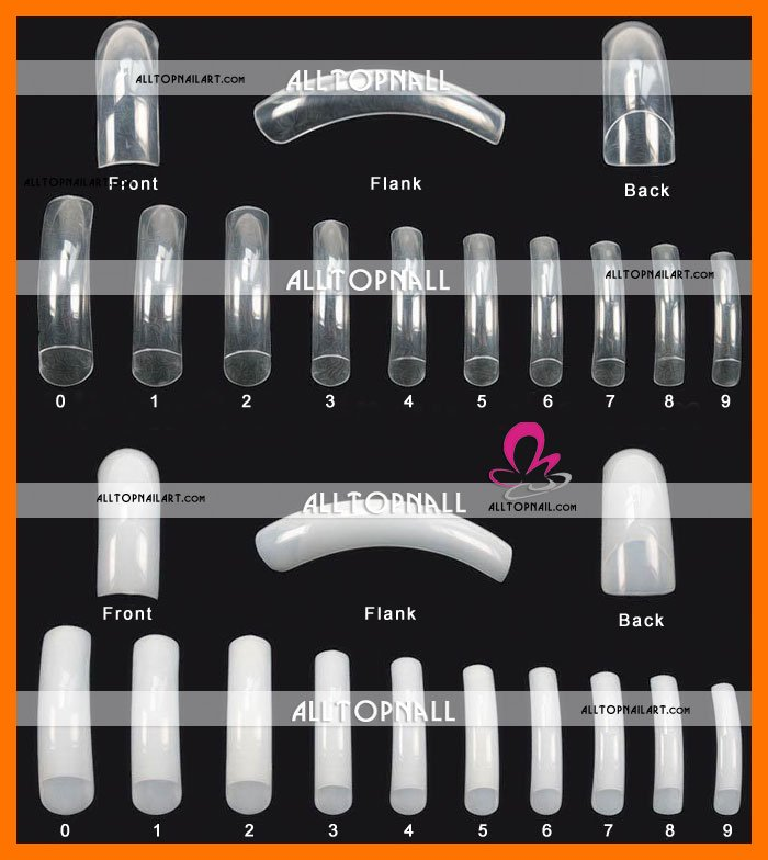 Hot Sale 100pcs Cocktail Curve Acrylic Nail Art French Curved Nail