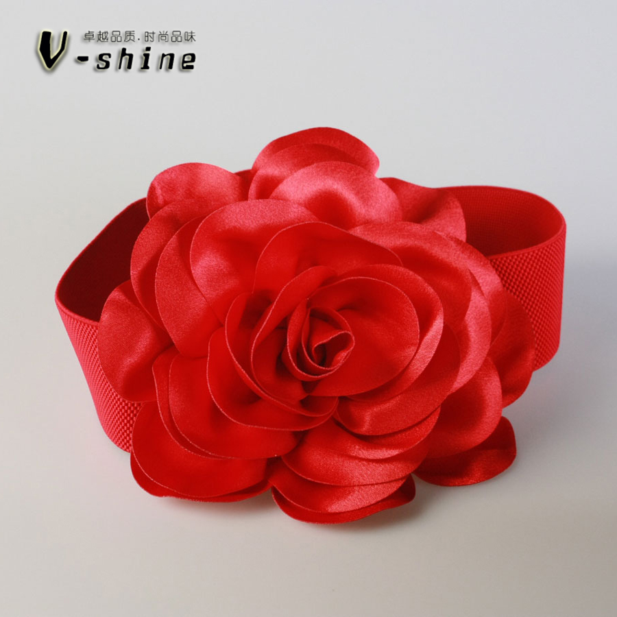 Red Roses Are All-match Wide Elastic Waistband Female Stereo Large Flower Decoration Crony Y124