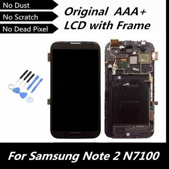 100% тестирование высокое качество оригинальный для галактики Note2 GT-N7100 серый цвет жк-цифровой + сенсорный экран планшета с рамной конструкции