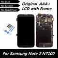 100% testado alta qualidade lcd original para galaxy note2 gt-n7100 lcd celular + tela de toque digitador com moldura de montagem