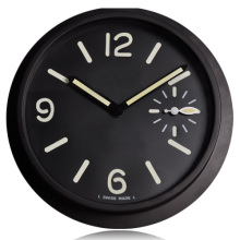 Holy Modern Watch Design Black Metal Wall Clock Big Numerals Luminous Effect Double Movement  horloge murale