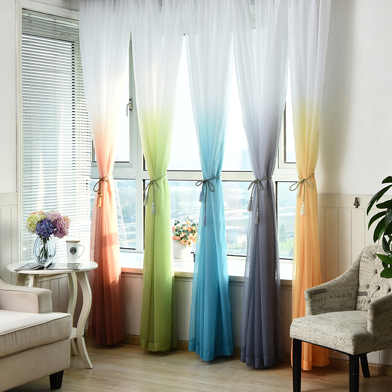 Tulle Gardiner 3D Tryckta Kök Dekorationer Fönster Behandlingar American Living Room Divider Sheer Voile gardin Single Panel