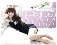 ry8900 бесплатная доставка корейский сексуальное хлопка с длинным рукавом мини платье розовый / черный / белый
