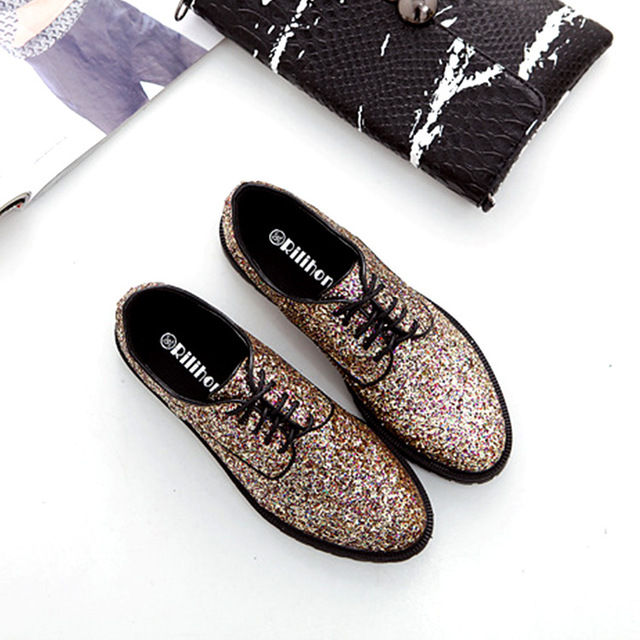 Free shipping 2017 new spring women shoes british style Sequins PU leather oxfords shoes mixed colors women casual flats