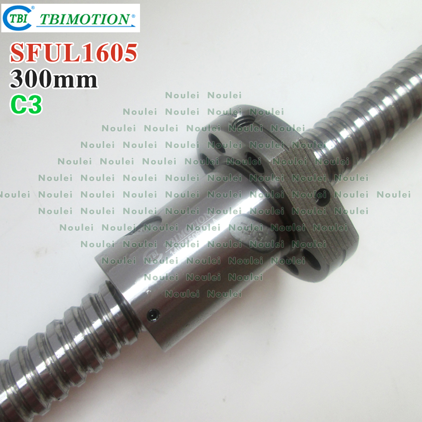 TBI Left helix C3 Ballscrew 1605 300mm + SFU1605 nut + end machined high precision for CNC diy parts горелка tbi sb 360 blackesg 3 м
