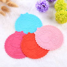 3pcs Cute Hello Kitty Silicone Anti Slip Cup Mat kitchen tools Coaster Novelty Cup Drink Placement Mat Cushion Holder home Decor