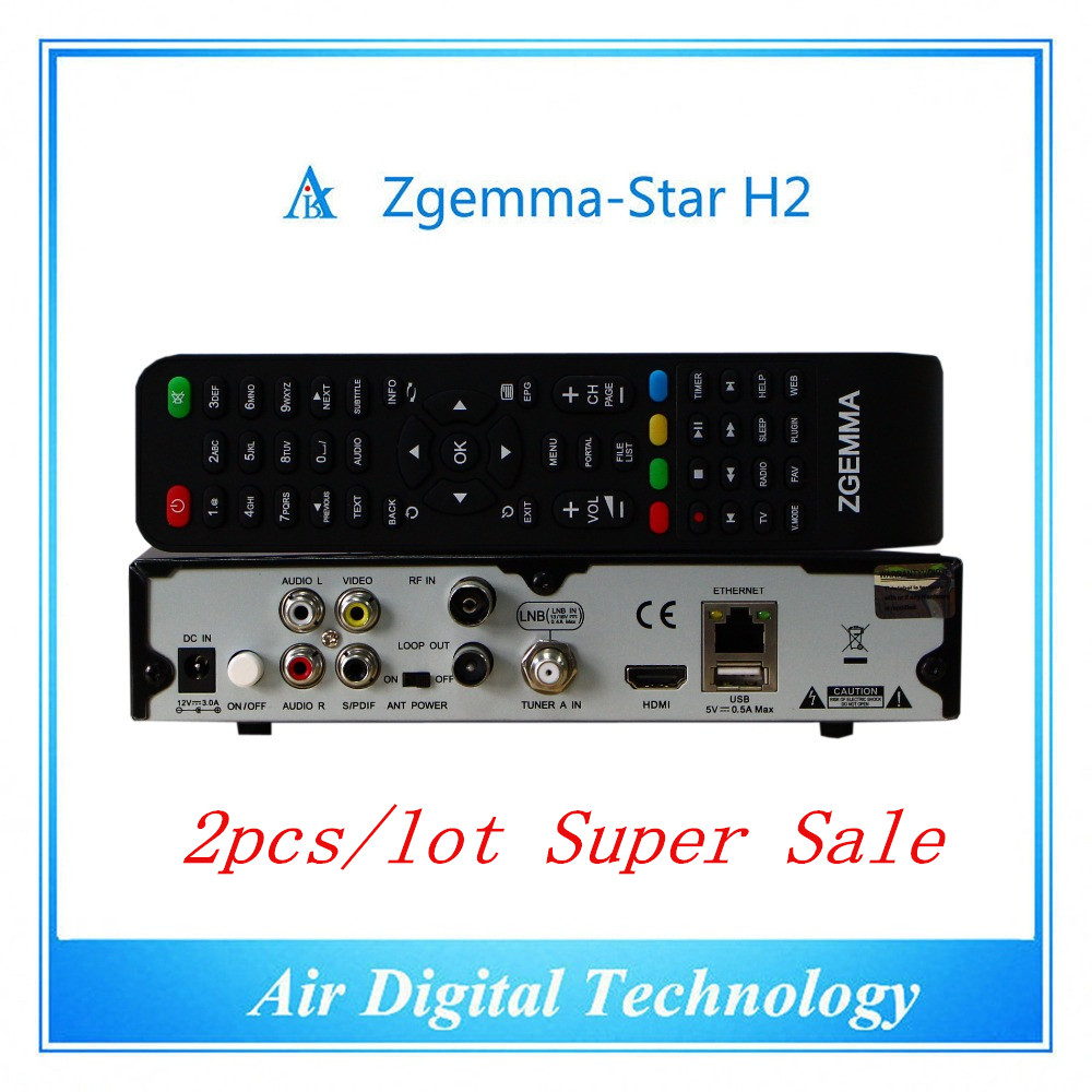 2pc/lot Full Channels Softwares Zgemma Star H2 FTA Satellite Receiver With Original Linux OS Enigma2 DVB-S2+T2/C Twin Sat Tuners 5pcs lot best offer 751mhz cpu zgemma star h2 hd combo dvb s2 dvb t2 c satellite receiver low cost in stock now