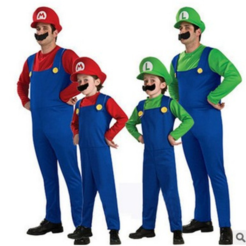 S-XL Halloween Costumes Kids Boys Adult Super Mario Bros Cosplay Fantasia Disfraces Christmas Purim Carnival Stage Performance