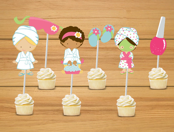 Spa party Cupcake Toppers Jungle Babies Birthday Party Decorations