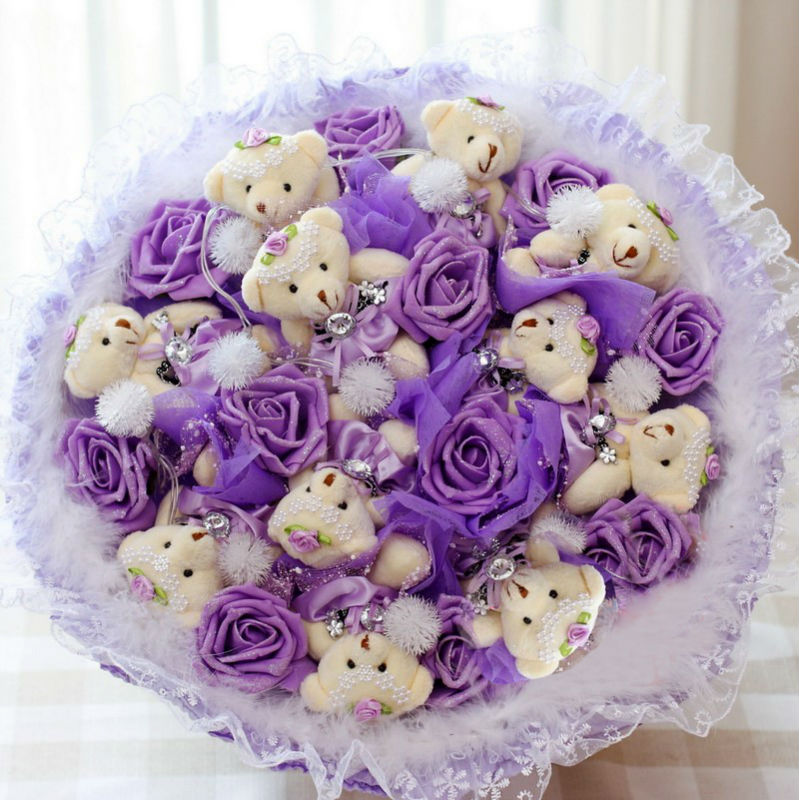diameter 14 inch 11 teddy bears with 11 purple flowers wedding, Ideas