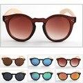 Venta caliente De Madera Clásico de La Moda Retro gafas de Sol Redondas ShadesEyewear Marco De Bambú