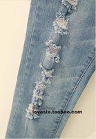 классическая ретро женщина разорвал сексуальных женщин 9-длина джинсы jeggingstrousers бесплатная доставка