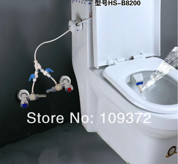 Free Shipping Toilet Bidet Combination Blue and White Hygenic Bio ...