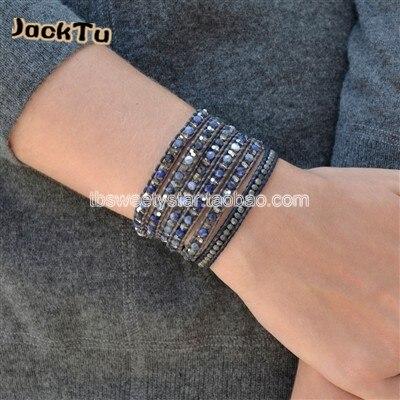 Горячий кристалл и содалит обернуть кожаный браслет