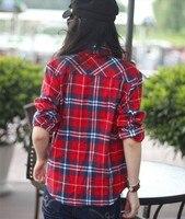 мода женская рубашка с длинным рукавом свободного покроя рубашка женщины вниз negro plead питание фланель Reset верхней части рубашки