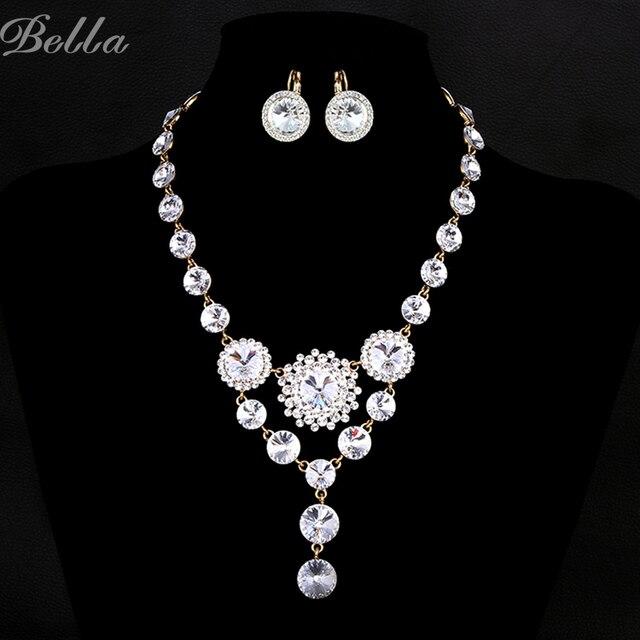 Top brand роскошные свадебные комплекты ювелирных изделий для невест ожерелье и серьги наборы Австрийских кристаллов Имитация Ювелирных Изделий С Бриллиантами (JS0007)