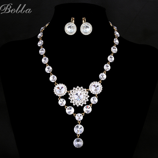 Top brand luxury  wedding jewelry sets for brides necklace and earring sets  Austrian crystals Simulated Diamond Jewelry(JS0007)