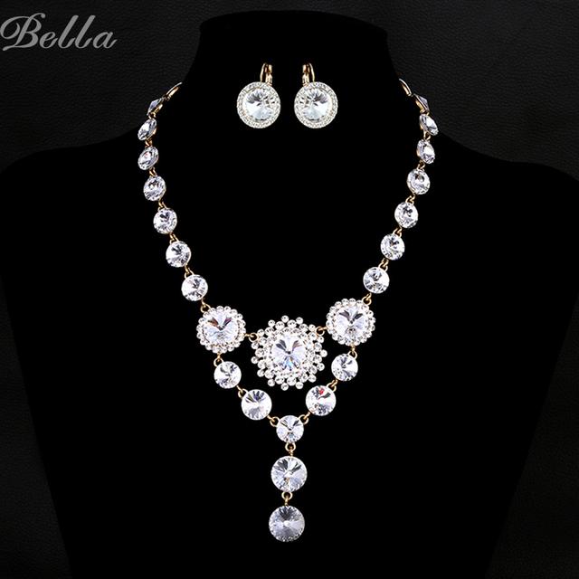 Top marca de luxo conjuntos de jóias de casamento para noivas conjuntos de colar e brinco cristais Austríacos Simulado Diamond Jewelry (JS0007)