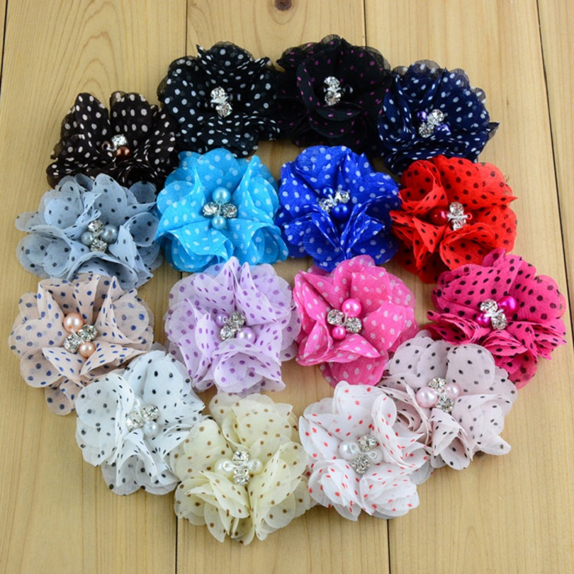 """10PCS 2"""" 16colors Hair Clips Dot Chiffon Flower+Rhinestones Pearls For Kids Hair Accessories Fabric Flowers For Headbands"""