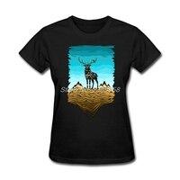 Latest Womens T Shirts Mountain Deer Comfortable Summer Tee Shirts Short Sleeve Cotton Women Tshirt