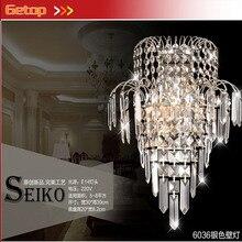 купить ZX Hot Sale K9 Crystal Stainless Steel E14 LED Wall Lamp for Bedside Hotel Bedroom Staircase Sitting Room Corridor Lamp по цене 4363.79 рублей