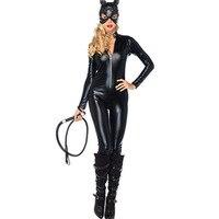 2016 Cat Suit Fancy Lucido Super Hero Nero Animale Tuta In Pelle Cat Donne Costumi di Halloween Per Le Donne
