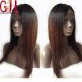 Calidad superior de dos tonos 1b/#6 recto de seda del pelo humano peluca glueless pelucas llenas del cordón y del frente del cordón largo ombre pelucas rectas para mujeres