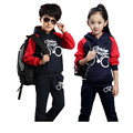 Brand Kids Girl Set 2016 Fall spring Clothes Full Sleeve Sport Suit Children Boy Hooded Sweatshirt 4T 12 Year Tracksuit TZ01