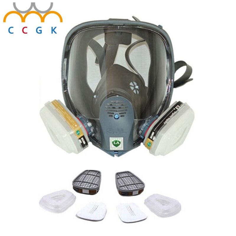 2017 New Full Face Gas Mask Cartridge Organic Vapor Respirator Mask Spray Paint Anti-dust formaldehyde Fire comparable 6800 3m 6300 6003 half facepiece reusable respirator organic mask acid face mask organic vapor acid gas respirator lt091