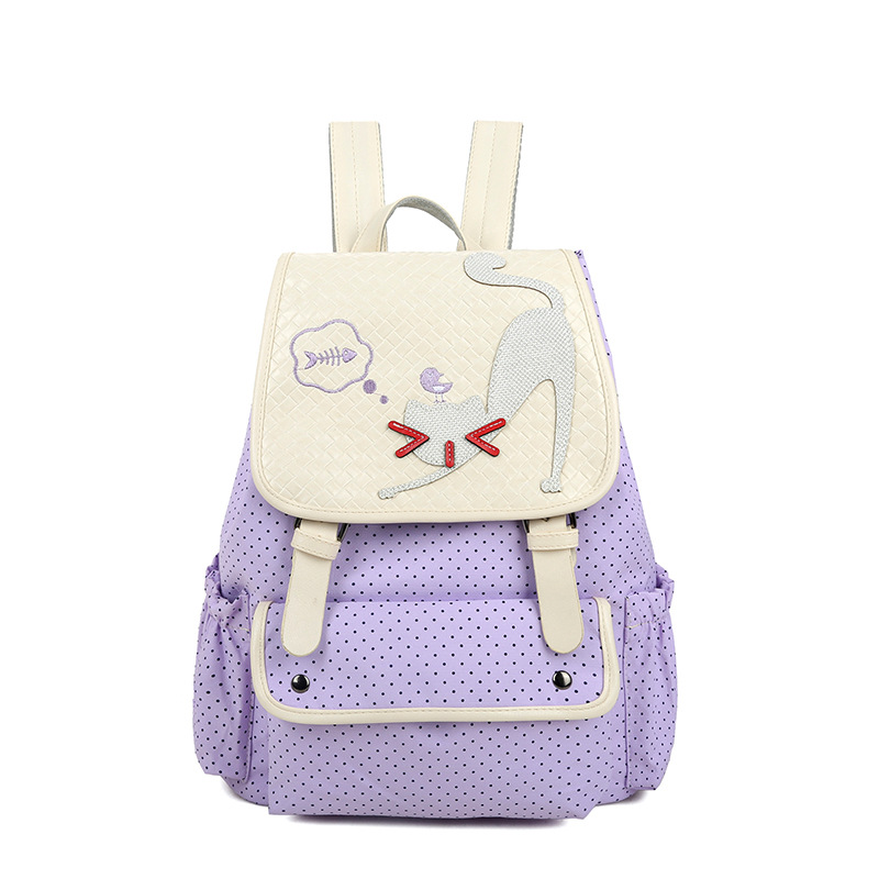 2017 Mochilas Printing Backpack Dot Cute Kittens Backpacks College Style Large capacity School Bags For Young