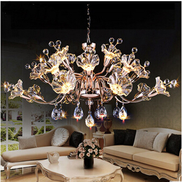 T Best Price Modern Lustre Flower Crystal Chandelier Fashion Dining-room Lamp Pandent Indoor Lamp LED light for Bedroom