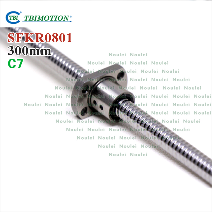 TBI 1mm lead 0801 ball screw 8mm diameter 300mm length with end Machined and SFK0801 nut for CNC kit parts sfu1610 silver tone metal 10mm lead 300mm length ball screw