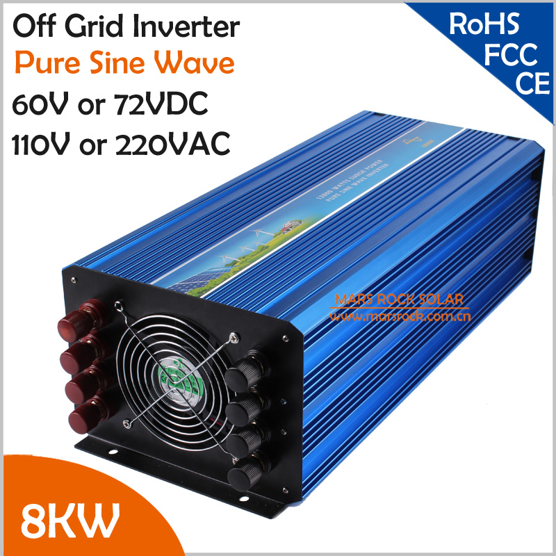 High frequency 8000W/8KW 60VDC or 72VDC to 110VAC or 220VAC off grid pure sine wave single phase inverter  Surge power 16KW