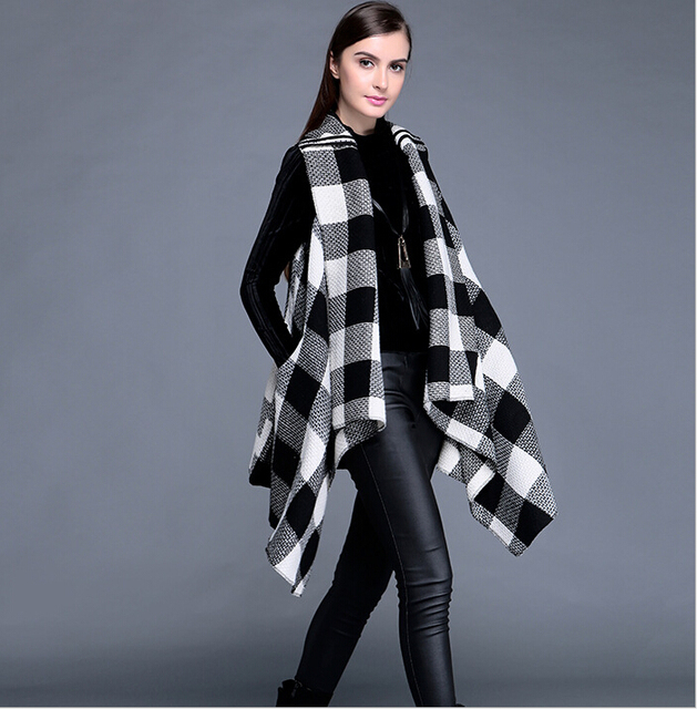 Europe Style Autumn Elegant Plaid Long Cardigan Loose Large Size Casual Women's Vests RM-134