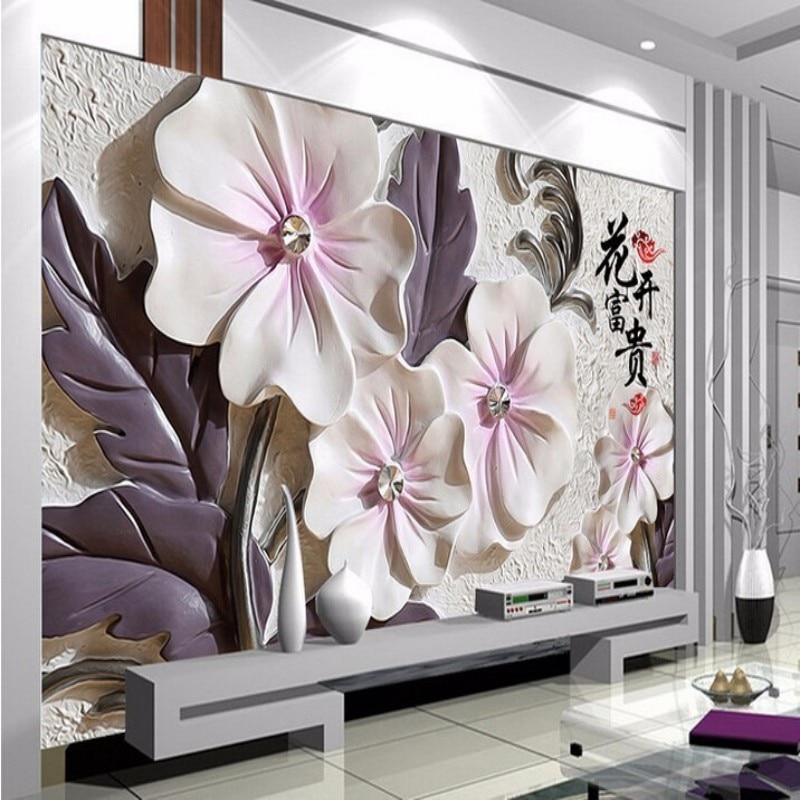 Papel De Parede Photo Wallpaper Art Modern Minimalist TV Wallpaper Backdrop Mural Wallpaper Embossed Lotus Room 3D
