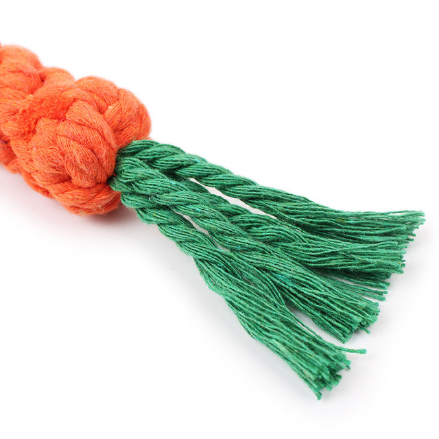 1PC Carrot Pet Dog Toy 22cm Long Braided Cotton Rope Puppy Chew Toys