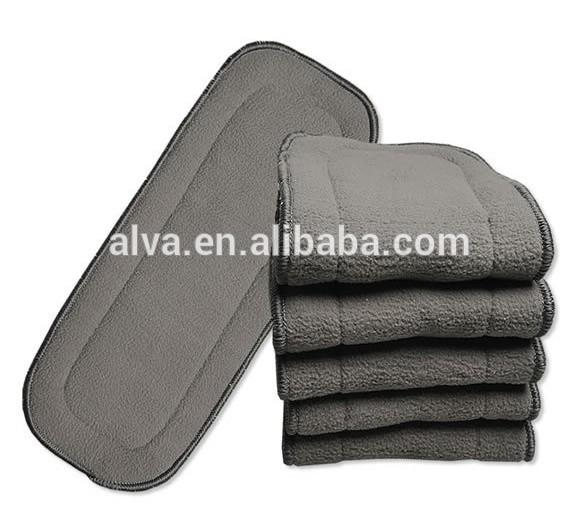ALVA 50pcs Free shipping Absorbent Organic 4 Layers Baby Diaper Charcoal Bamboo Inserts