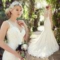 Sexy Vintage Lace Sereia Do Vestido de Casamento Cinta 2016 Spaghetti Modest Peru Elegante Vestidos de Casamento Vestidos de Noiva Weddingdress GY03