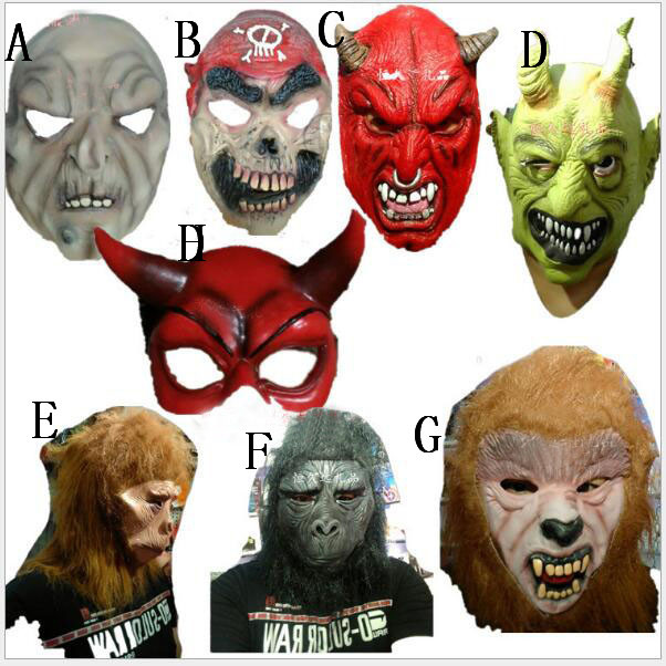 Aliexpress.com : Buy Scary Latex Red Devil Horns Mask Full Face ...