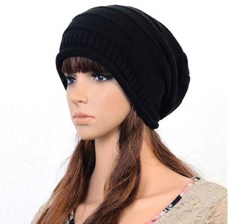 Women Winter Hat Caps Skullies Bonnet Winter Hats For Men Women Beanie Warm Baggy Knitted Hat Black skullies
