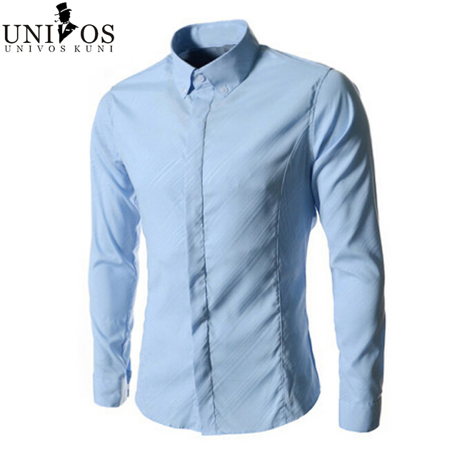 Men's Dress Shirts Solid 2016 Formal Business Brand New Slim Fit Spring Autumn Long Sleeve Slim Fit Male Camisa Masculina Z1928