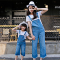 207 new mother and daughter clothes denim overalls for girls women jeans mommy and me clothes family matching clothes