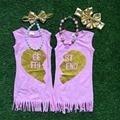 Bebés del vestido del verano rosa mejor amiga muchachas del vestido hermana vestido de las muchachas del vestido de la borla con accesorios